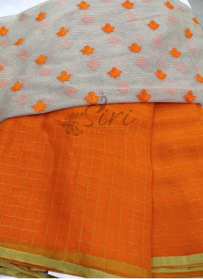 Orange Chiffon Saree in Self Zari Checks with Beautiful Designer Blouse