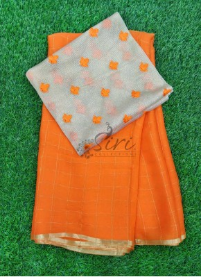 Orange Chiffon Saree in Zari Checks With Designer Blouse Fabric
