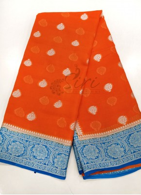 Orange Copper Sulphate Blue Pure Banarasi Georgette Saree
