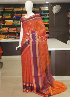 Orange Double Shade Cotton Silk Saree