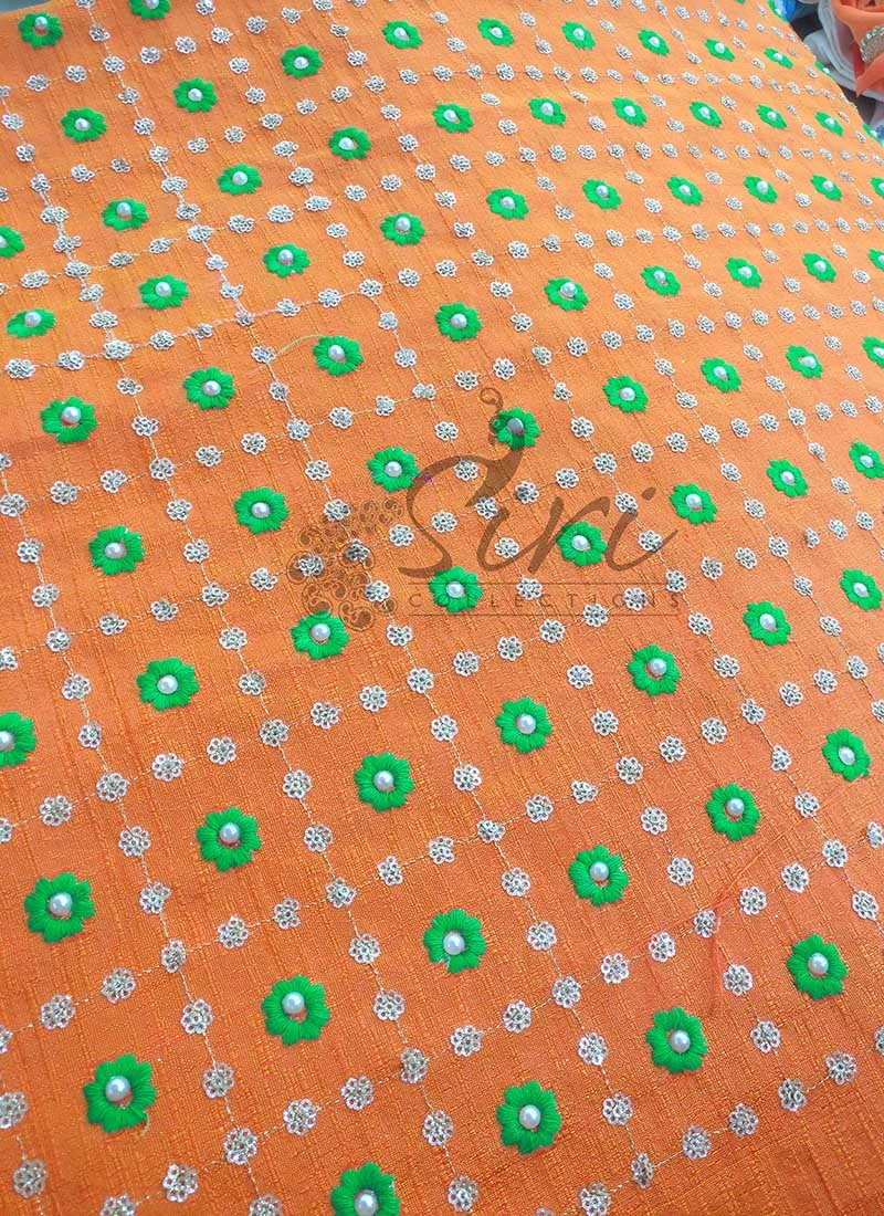 Orange Double Shade Raw Silk Fabric in Embroidery and Sequins Work Per Meter