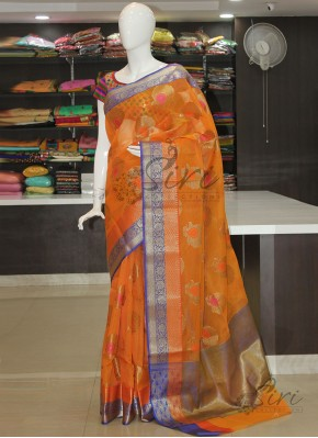 Orange Fancy Banarasi Munga Checks Saree In Multi Butis