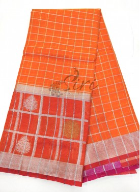 Orange Fancy Chanderi Cotton Silk Saree in Silver Zari