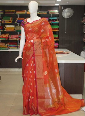Orange Fancy Cotton Silk Saree in Silver Gold Zari Butis