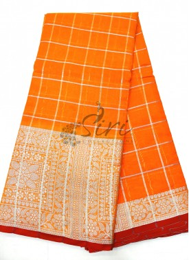 Orange Fancy Cotton Silk Saree in Silver Zari