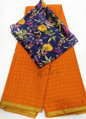 Orange Fancy Georgette Saree in Self Checks
