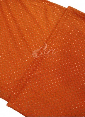 Orange Fancy Jacquard Net in Mukesh Work Per Meter