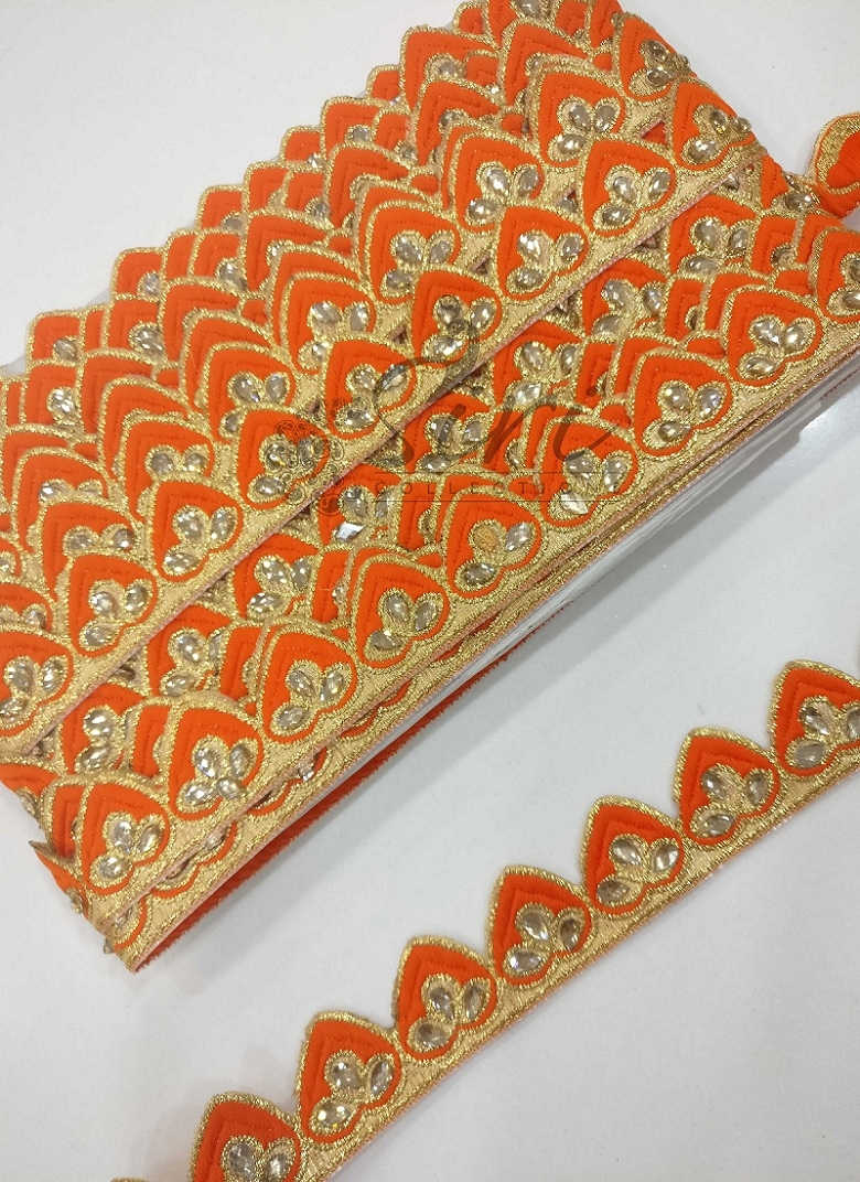 Orange Gold Fancy Shimmer Saree Lace Border in Stone Work