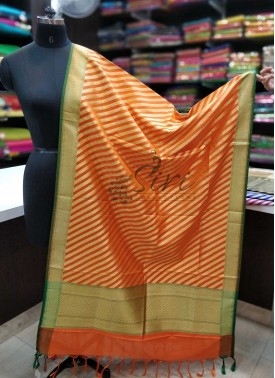 Orange Green Banarasi Dupatta