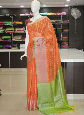 Orange Green Chanderi Cotton Silk Saree in Silver Zari