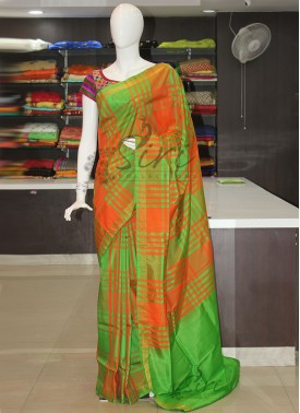 Orange Green Checks Pattu Silk Saree