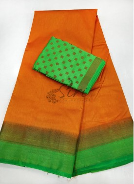 Orange Green Fancy Silk Saree