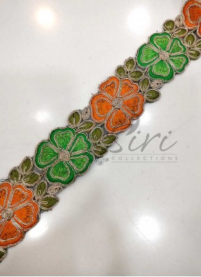 Orange Green Flowers Cut Cording Work Border Lace