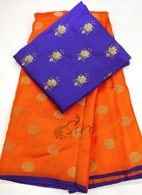 Orange Jute Silk Saree in Self Polka Dots Weave
