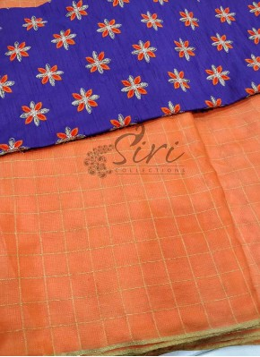 Orange Jute Silk Saree in Self Zari Checks with Designer Blouse