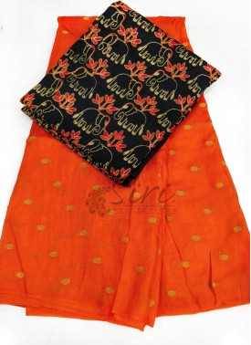 Orange Jute Silk Saree in Self  Zari Polka Dots