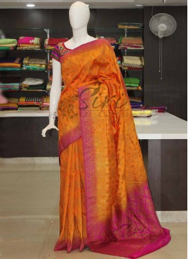 Orange Magenta Banarasi Fancy Dupion Silk Saree