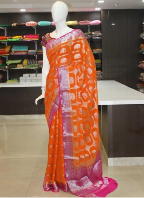 Orange Magenta Pink Fancy Banarasi Georgette Saree in Silver Zari
