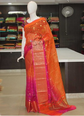 Orange Magenta Pink Shaded Kora Silk Saree