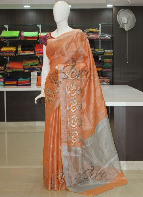 Orange Peach Tissue Linen Saree in Embroidery Work