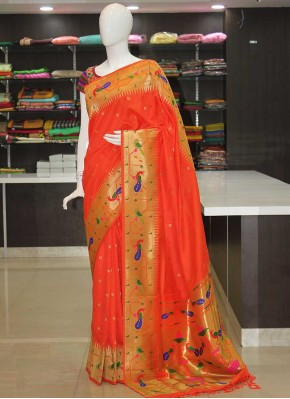 Orange Peacock Design Fancy Paithani Silk Saree