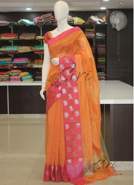 Orange Pink Double Shade Chanderi Saree in Silver Zari