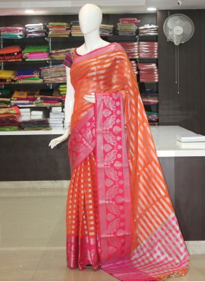 Orange Pink Kora Cotton Saree in Silver Zari