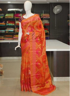 Orange Pink Pure Designer Silk Kota Saree in Blow Print in Allover Design