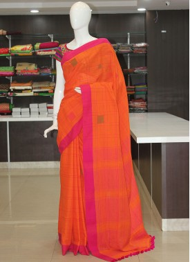 Orange Pink Simple Pure Bengal Cotton Saree