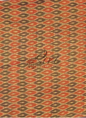Orange purple double shade Pochampally Ikat Mercerized Cotton Fabric By Meter