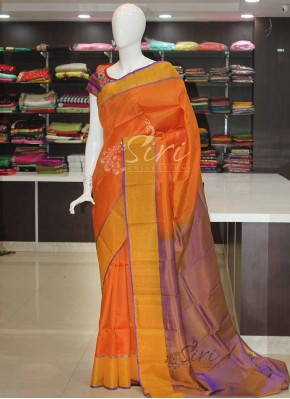 Orange Purple Uppada Silk Saree