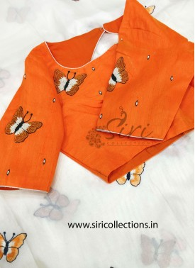 Orange Raw Silk Blouse in HandWork