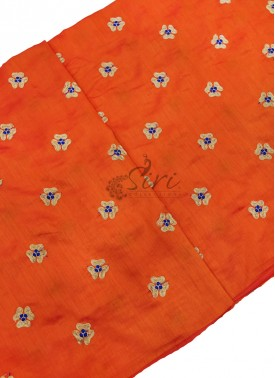 Orange Raw Silk Fabric in Embroidery Work Butis Per Meter