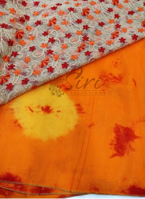 Orange Red Yellow Shibori Jute Silk Saree with Beautiful Designer Blouse