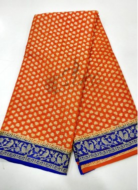 Orange Royal Blue Pure Banarasi Georgette Saree