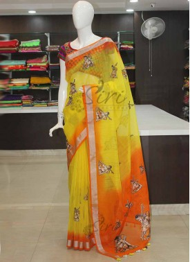 Orange Yellow Shaded Banarasi Lenin with Digital Print Applique Work