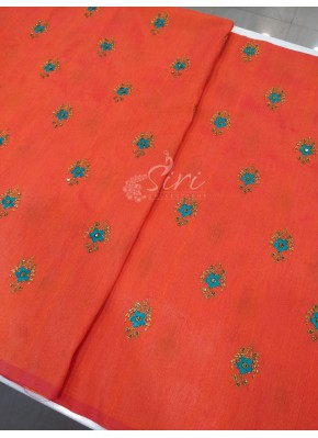 Orangish Pink Double shade Raw Silk Fabric in Thread & Zari Embroidery Work Butis per meter