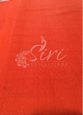 Orangish Red Double Shade Soft Silk Fabric in Self Cross Lines Design Per Meter