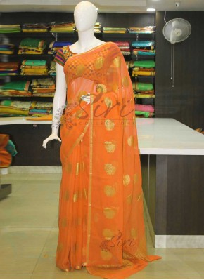 Orangish Yellow Banarasi Georgette Saree in Peacock Butis