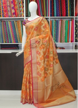Orangish Yellow Designer Saree in All Over Multi Colour Jaal With Rich Pallu