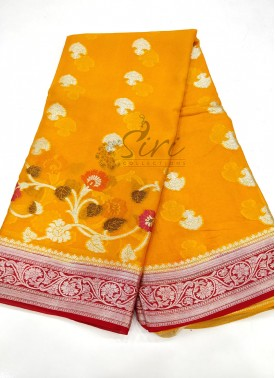 Orangish Yellow Red Pure Banarasi Georgette Saree