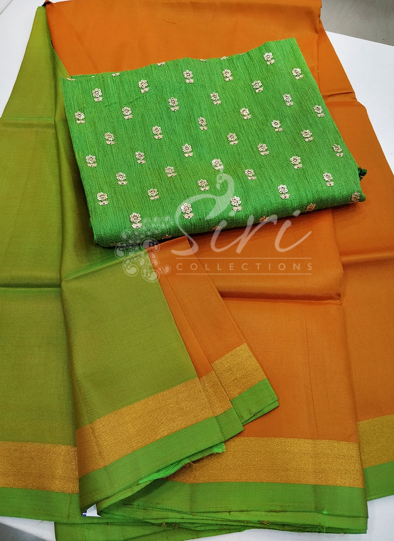Orangish Yellow Uppada Silk Saree with Designer Blouse Fabric