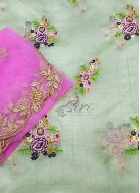 Organza Fabric for Long Frock and Matching Cut Work Dupatta Set