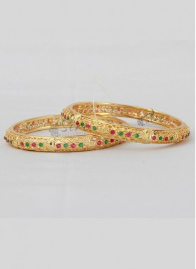Pair of Bangles in Kemp Stones and Gold Micro Polish