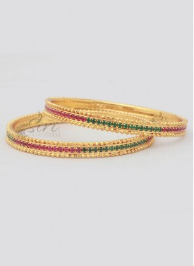 Pair of Bangles Ruby Emerald Alike Stones And Gold Micro Polish