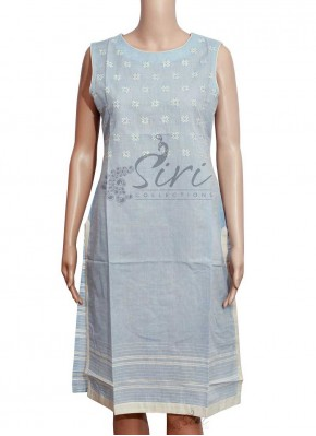 Pale Blue Cotton Kurti