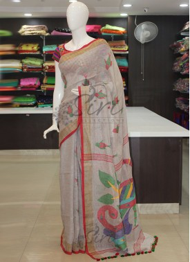 Pale Grey Jamdani Pure Linen Saree