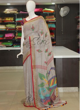 Pale Grey Jamdhani Pure Linen Saree