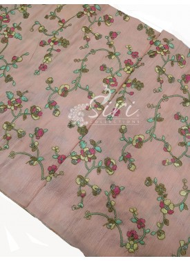 Pale/light Peach Raw Silk Fabric in Embroidery Wor