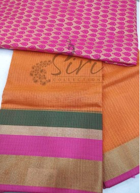 Pale Orange Double Shade Fancy Kota Saree